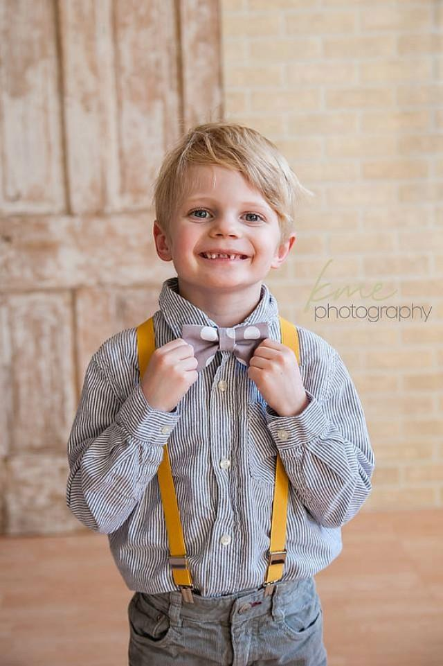 Baby Boys' 4pc. Long Sleeve Collared Bodysuit, Twill Pants, Bow Tie and Suspenders - Cat & Jack™ White/Gray.