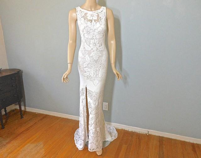 Cream lace backless bohemian wedding dress simple wedding for Backless bohemian wedding dress
