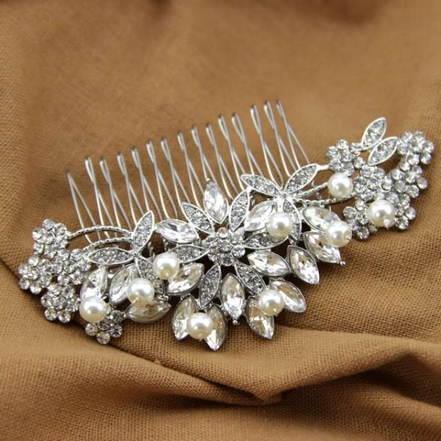 handmade crystal bridal hair comb wired pearl headpiece