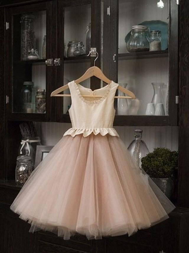 Items similar to silk tulle flower girl dress free for Little flower girl wedding dresses