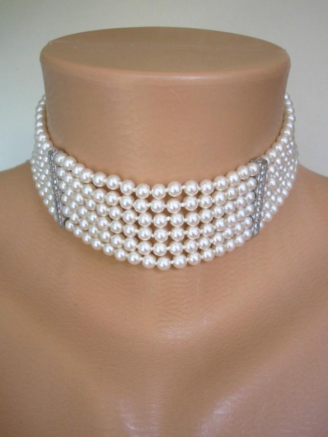 Pearl Choker Mother Of The Bride Great Gatsby Statement