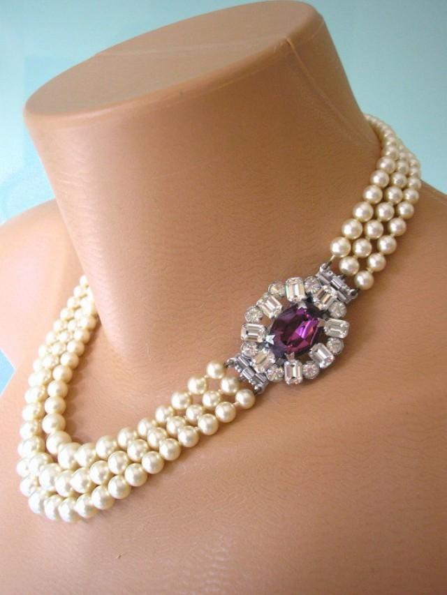 Amethyst Necklace Pearl Choker Great Gatsby Art Deco