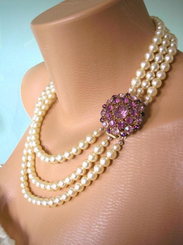 Amethyst Necklace Pearl Choker Mother Of The Bride Great