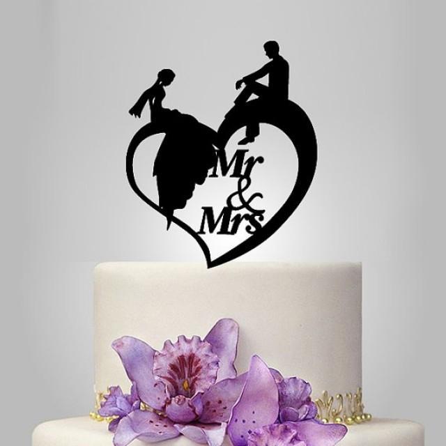 Mr And Mrs Wedding Cake Topper Birde And Groom Silhouette On Heart Heart Wedding Cake Decor