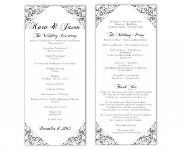 wedding program template diy editable text word file download program gray silver program floral. Black Bedroom Furniture Sets. Home Design Ideas