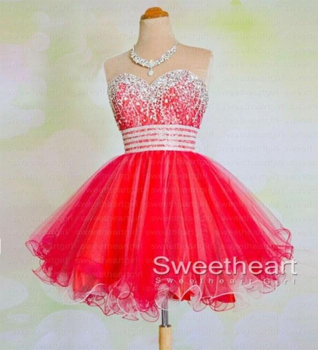 wedding photo - Red Sweetheart Sequin Short Prom Dresses, Homecoming Dress from Sweetheart Girl