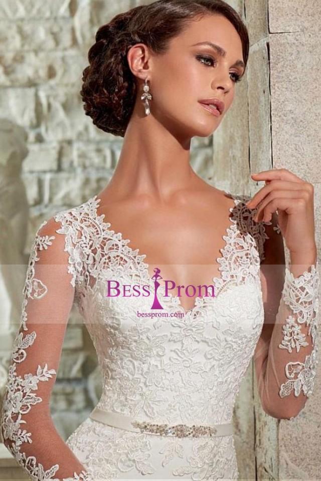 wedding photo - applique court train column 2015 chiffon wedding dress - bessprom.com