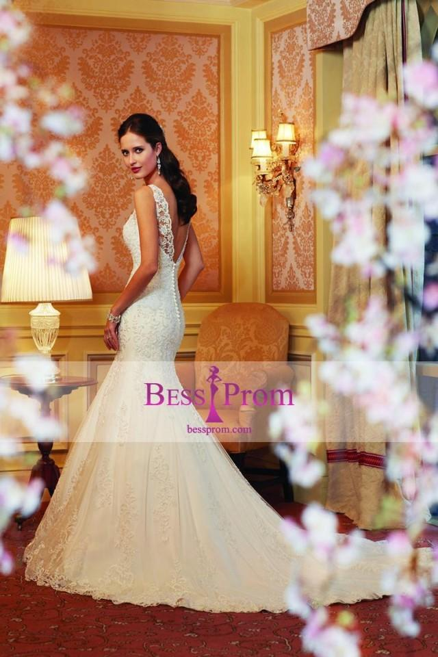 wedding photo - tulle chapel train beads applique 2015 wedding dress - bessprom.com