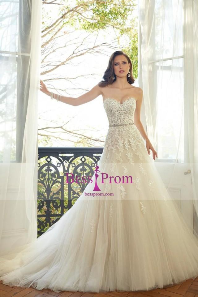wedding photo - applique tulle 2015 sweetheart court train wedding dress - bessprom.com