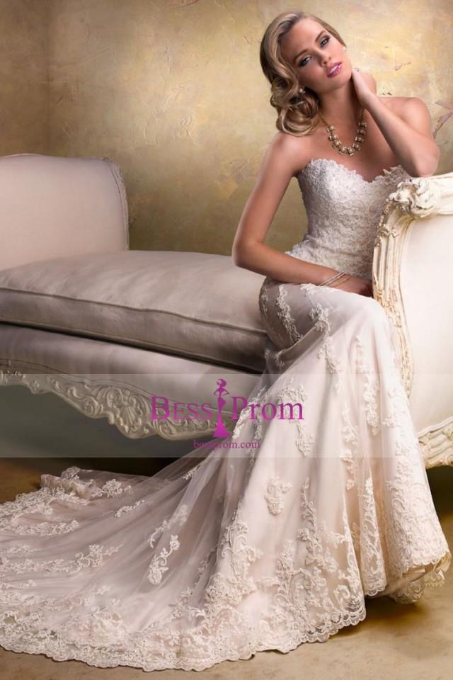 wedding photo - column 2015 applique sweetheart tulle wedding dress - bessprom.com