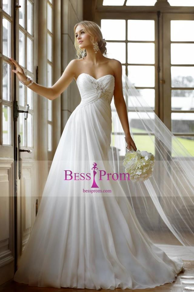 wedding photo - 2015 ruffles sweetheart beading court train wedding dress - bessprom.com