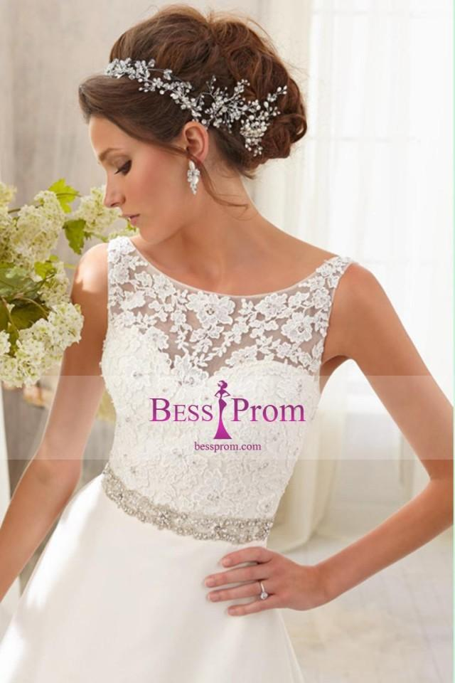 wedding photo - lace chiffon a-line bateau 2015 wedding dress - bessprom.com