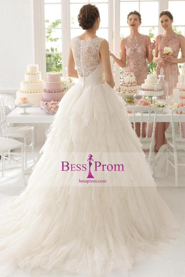 wedding photo - tulle 2015 court train layered bateau wedding dress - bessprom.com