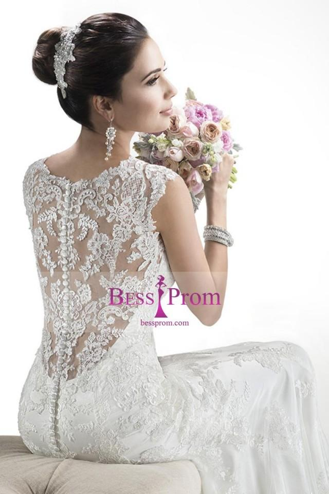wedding photo - sheath/column applique chapel train v-neck tulle wedding dress - bessprom.com