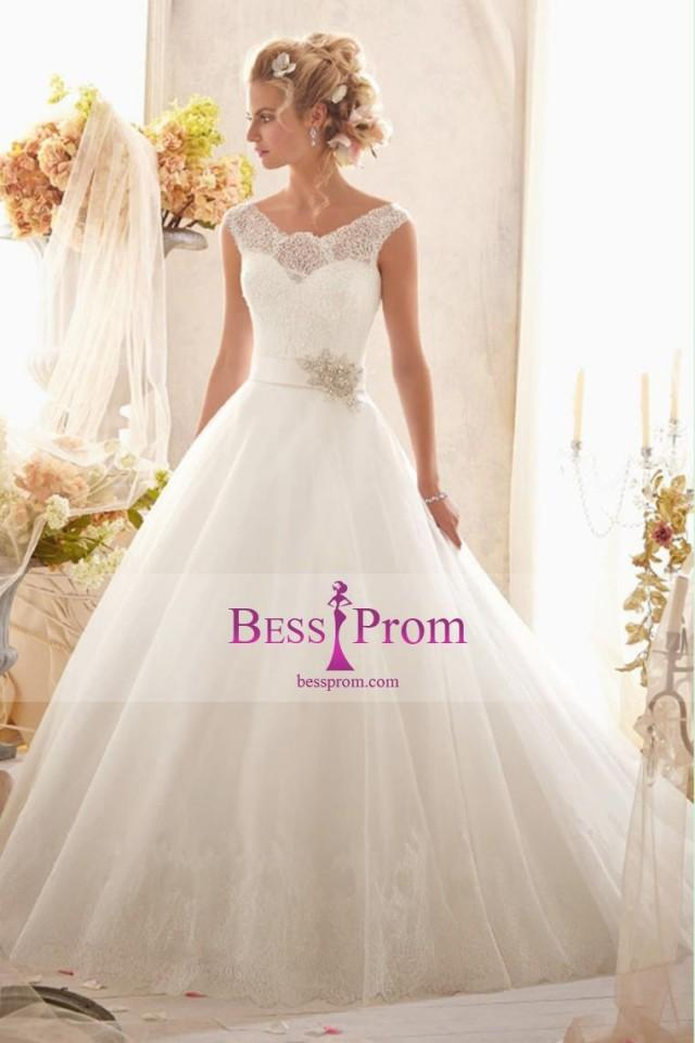 wedding photo - skirt beaded off-the-shoulder lace 2015 wedding dress - bessprom.com