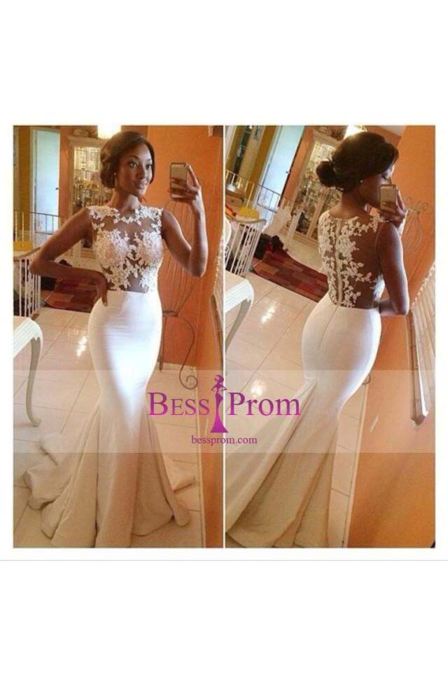 wedding photo - scoop 2015 trumpet applique taffeta prom dress - bessprom.com