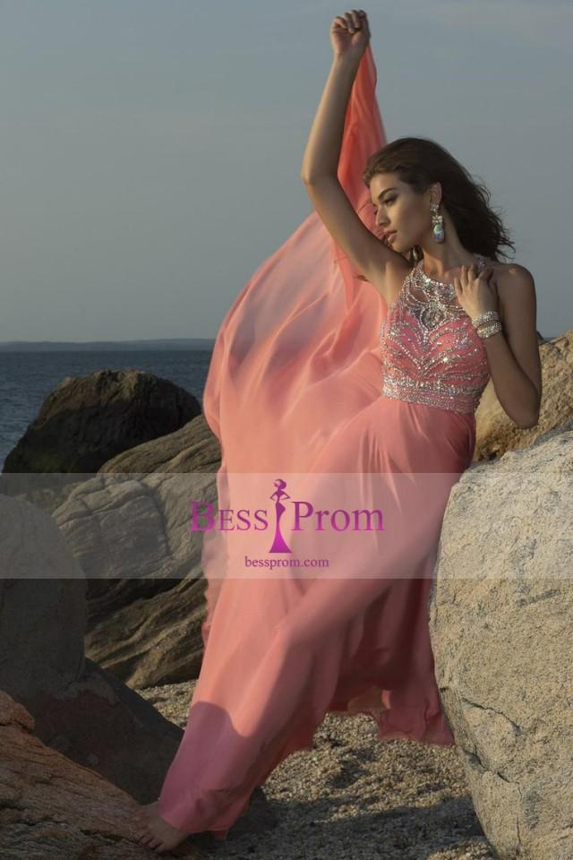 wedding photo - tulle sweep train halter 2015 chiffon prom dress - bessprom.com
