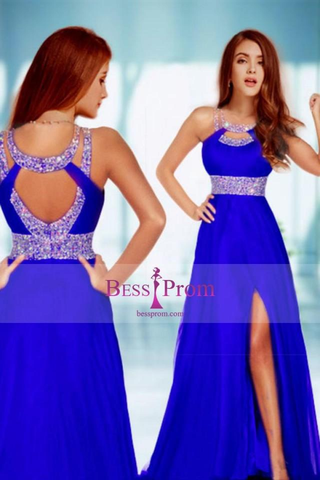 wedding photo - scoop 2015 a-line brush red prom dress - bessprom.com