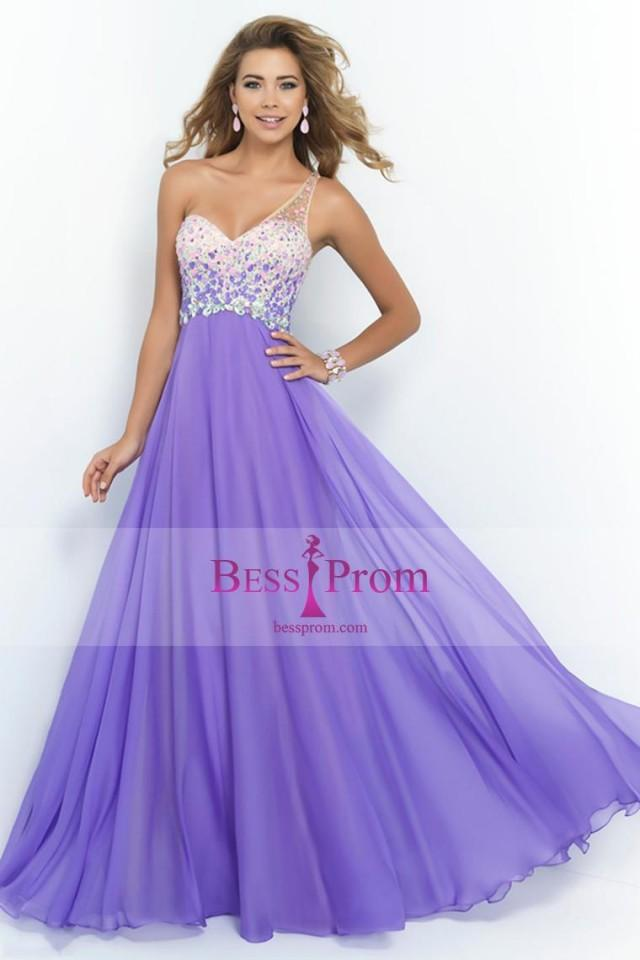 wedding photo - one shoulder romantic chiffon a-line 2015 prom dress - bessprom.com