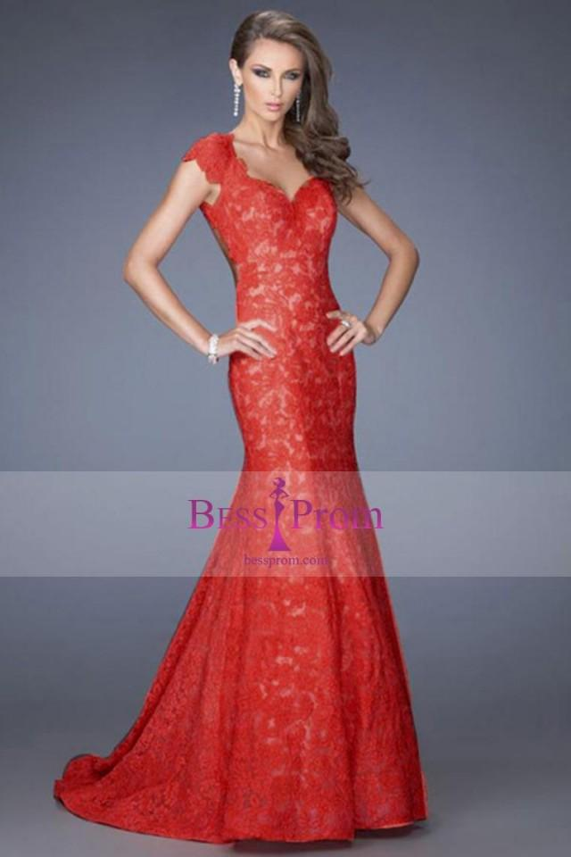 wedding photo - 2015 black & red floor length dresses lace - bessprom.com