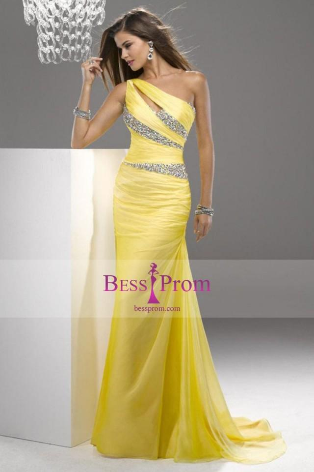 wedding photo - court train one shoulder 2015 trumpet prom dress - bessprom.com
