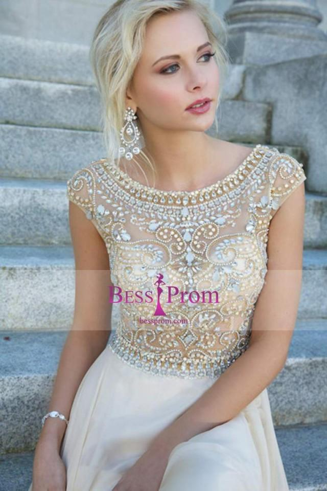 wedding photo - chiffon elegant scoop beading zipper prom dress - bessprom.com