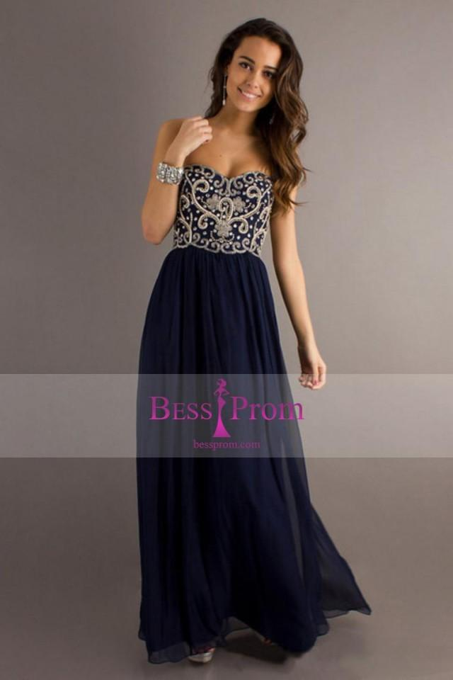 wedding photo - crystals long dark navy 2015 silver prom dress - bessprom.com