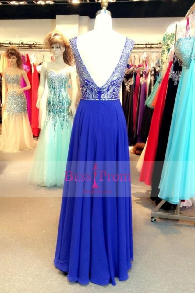 wedding photo - chiffon a-line long 2015 scoop prom dress - bessprom.com