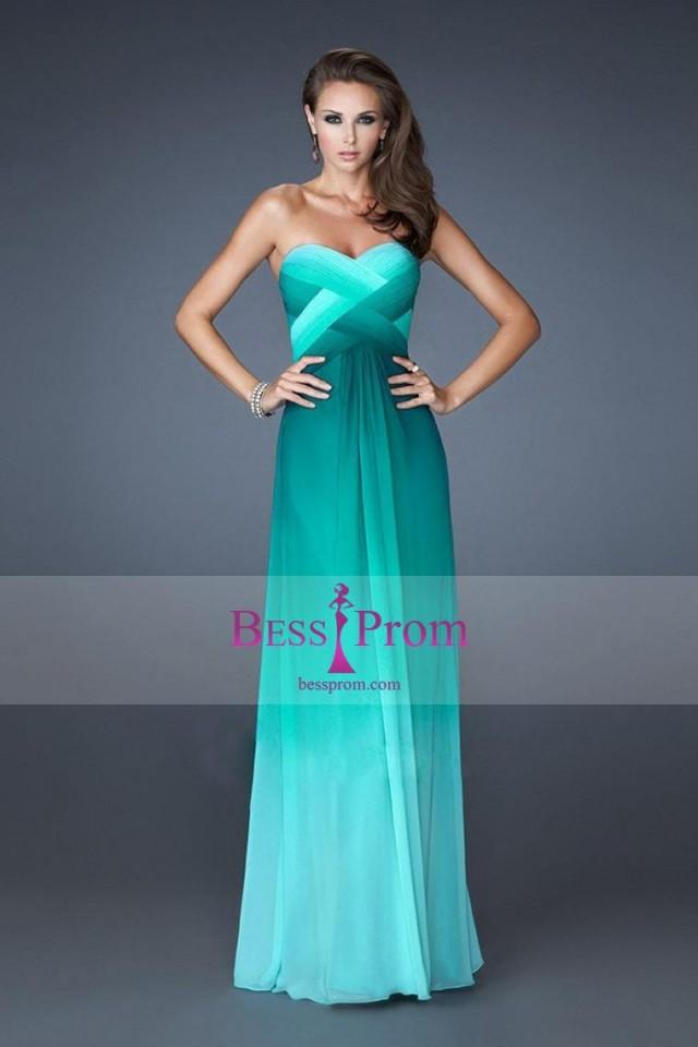 wedding photo - a-line colorful long sweetheart 2015 prom dress - bessprom.com