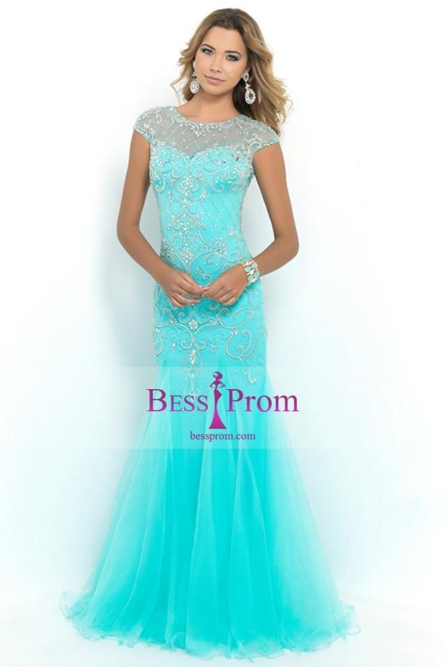 wedding photo - fitted scoop tulle terrific 2015 prom dress - bessprom.com