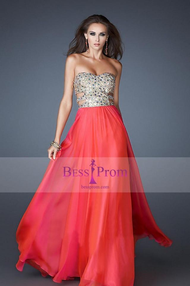wedding photo - sweetheart long chiffon 2015 a-line prom dress - bessprom.com