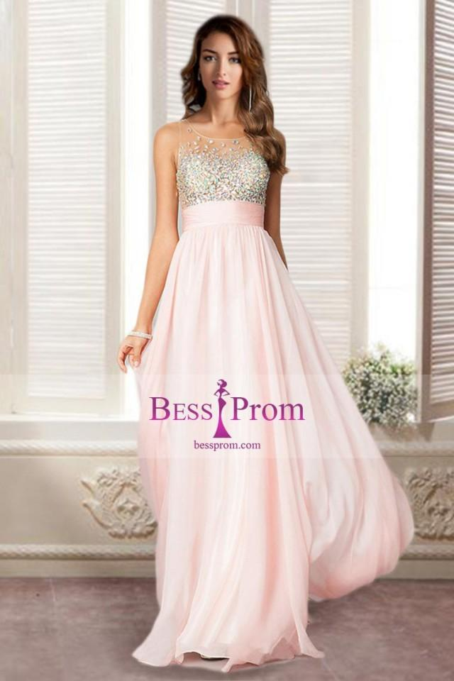 wedding photo - beading chiffon sexy long 2015 prom dress - bessprom.com