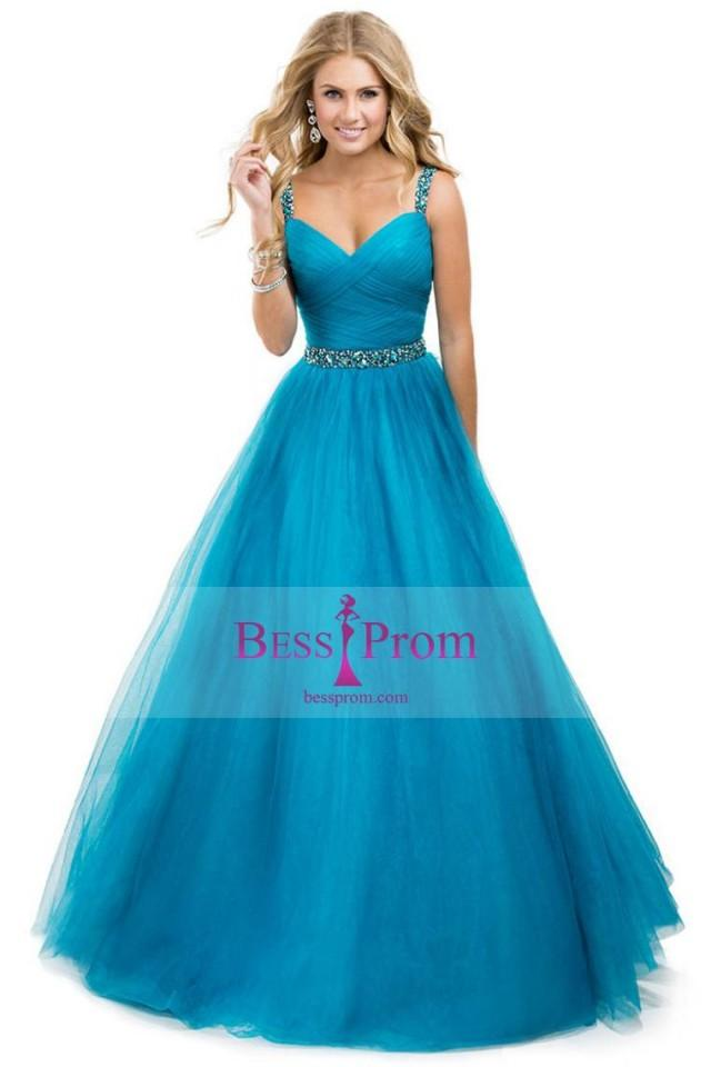 wedding photo - yellow ball gown straps jeweled tulle prom dress - bessprom.com