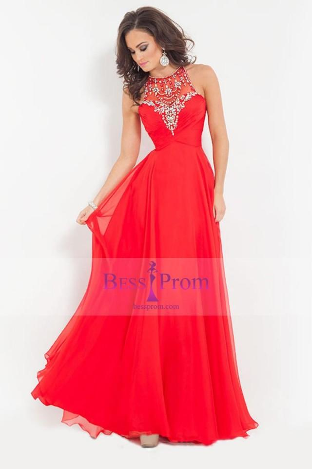 wedding photo - 2015 princess beads scoop chiffon prom dress - bessprom.com