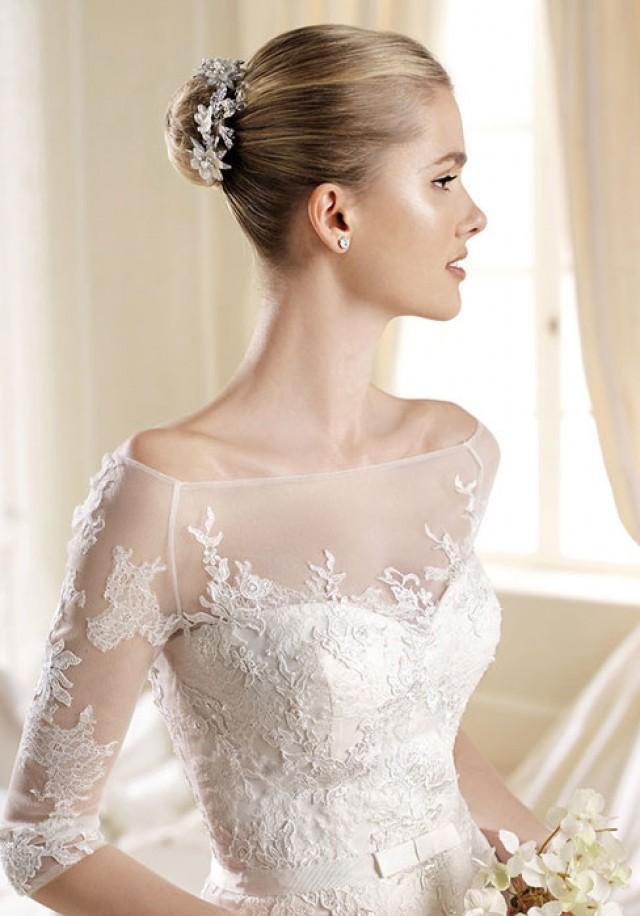 wedding photo - embroidery empire sweetheart chapel train wedding dress - bessprom.com