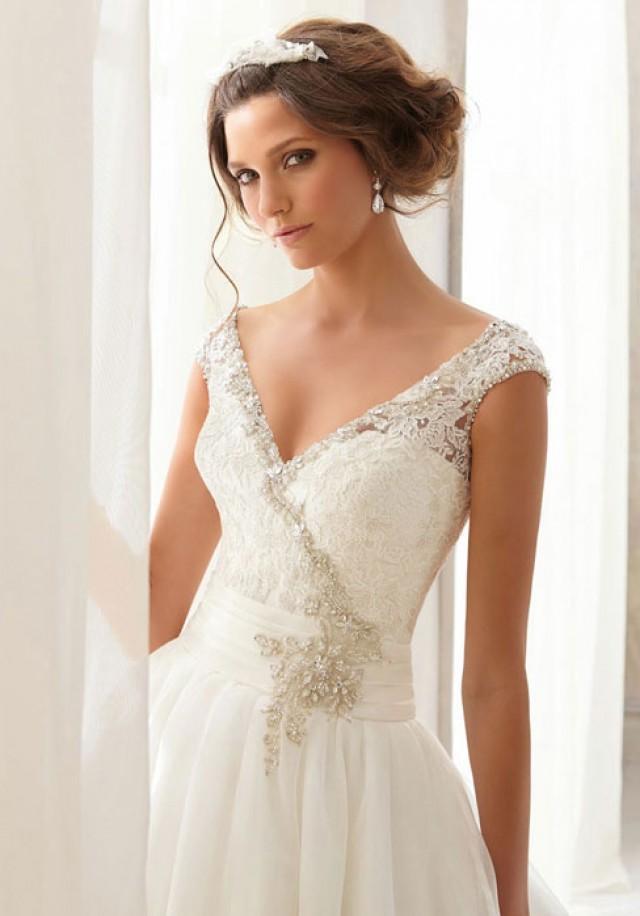 wedding photo - v-bac v-neck natural waist organza,lace chapel train wedding dress - bessprom.com