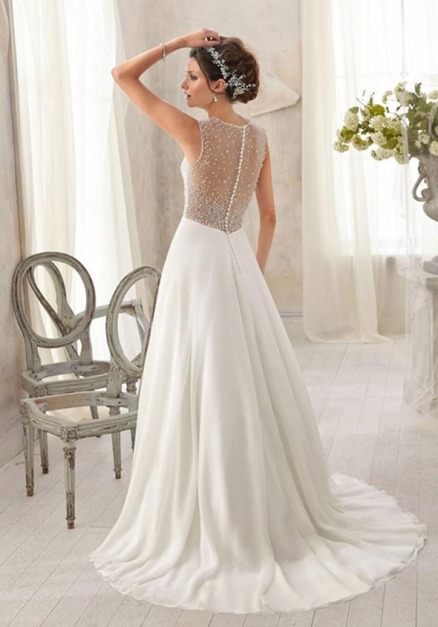 wedding photo - A-line Chiffon,Lace Scoop Natural Waist Sweep/Brush Train Wedding Dress - bessprom.com