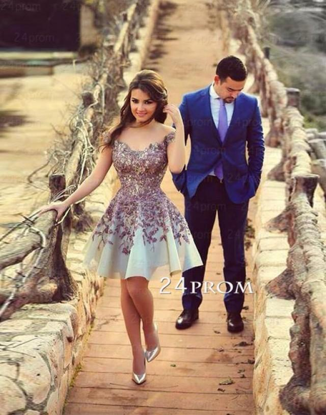 wedding photo - Lace cap sleeves Short Prom Dress, Homecoming Dress - 24prom