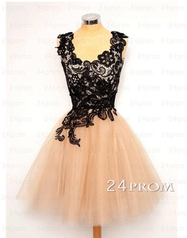 wedding photo - Black Tulle Short Prom Dress, Homecoming Dress - 24prom