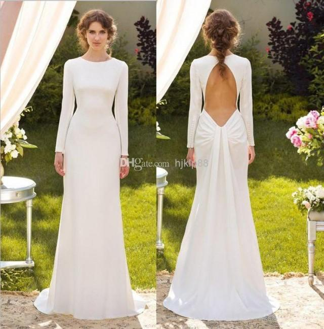Simple Elegant Open Back Long Sleeve Wedding Dress: 2014 Concise Elegant White Long Sleeve Sheath Wedding