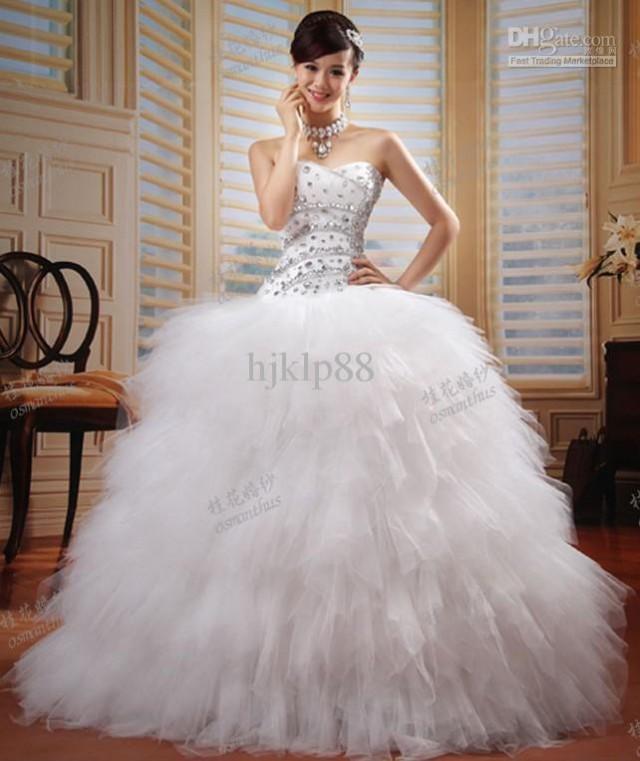 2013 new luxury custom size sweetheart strapless beading Wedding dresses with crystal beading