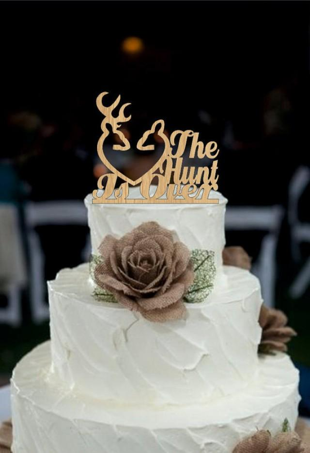 Wedding Cake Topper Rustic The Hunt Is Over Deer Wedding Cake Topper Country Cake Topper