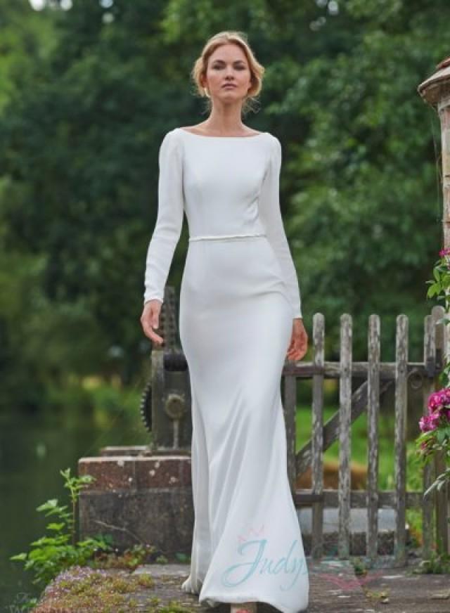 Jw16081 Y Simple Long Sleeved Backless Sheath Wedding Dress