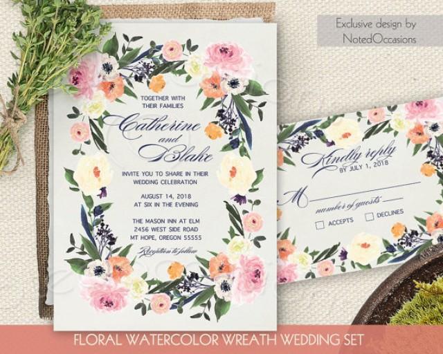 Watercolor floral wreath wedding invitation printable