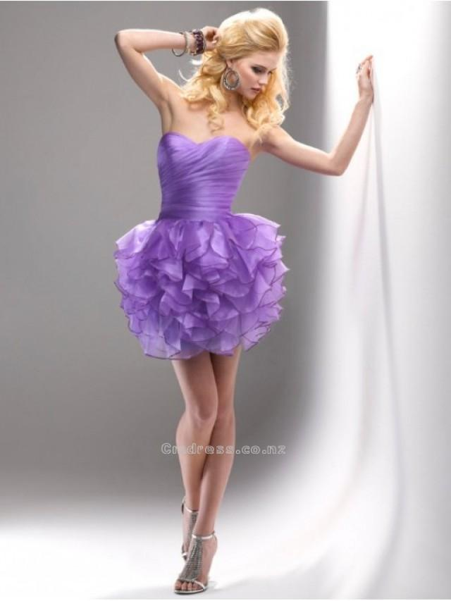 wedding photo - Glamorous Empire Sweetheart Organza and Ruffle Mini-Length Prom DressSKU: PD00079-FL