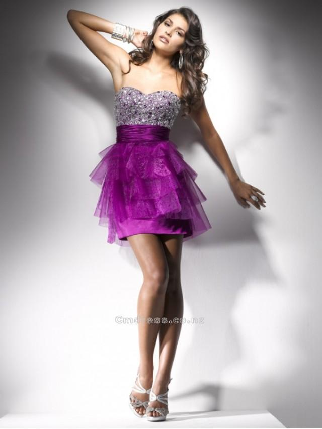 wedding photo - Gorgeous Empire Sweetheart Satin and Tulle with Beading Mini-Length Prom DressSKU: PD00081-FL