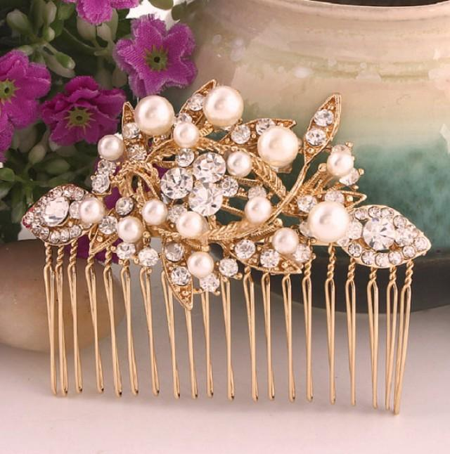 wedding photo - Vintage Style Gold Wedding Comb, Bridal Head Piece, Gold Plated Rhinestone And Pearl Leaf Headpiece, Gold Wedding Headpiece, Bridal Jewelry