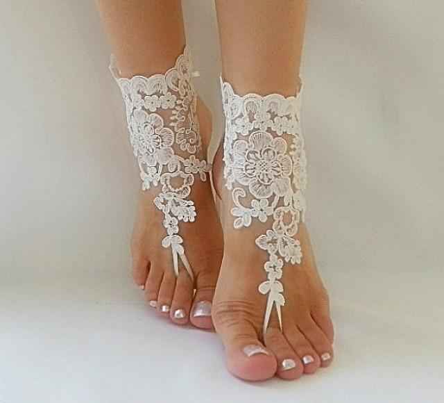 French Wedding Gifts: Ivory Beach Wedding Barefoot Sandals Sexy Barefoot French