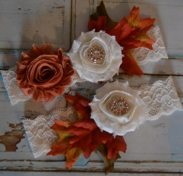 wedding photo - Wedding Garter, Fall Wedding Garter Set, Unique Rustic Garter Set, Autumn Copper and Ivory Frayed Flowers and Fall Leaves Bridal Garter Set