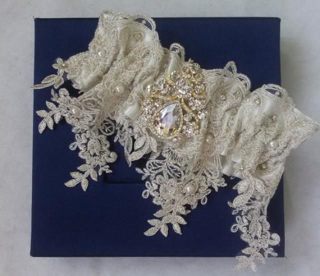 Wedding Leg Garter, Pearl Lace Garter, Rustic Wedding ...